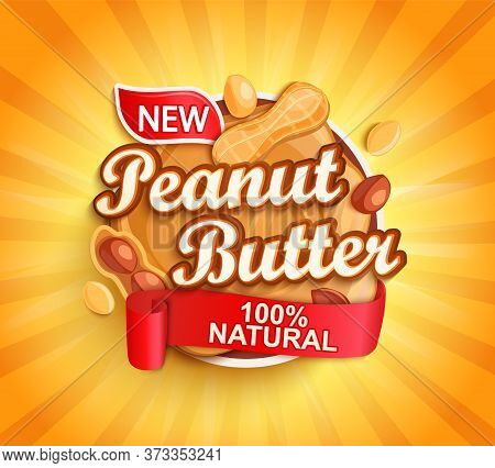 Organic Peanut Butter Label, Natural Product With Nuts On Gold Sunburst Background For Your Brand, L