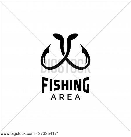 Fishing Logo, Fish Logo, Fish Symbol, Camp Logo. Fishing Emblem, Label, Badge, Logos, Hook Logo Vect
