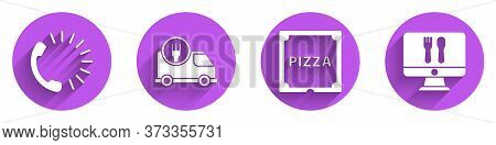 Set Food Ordering, Fast Delivery By Car, Pizza In Cardboard Box And Online Ordering And Delivery Ico