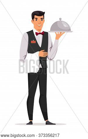 Friendly Smiling Waiter In Restaurant Cheerful Man Cartoon Character Holding Serving Tray Under Lid