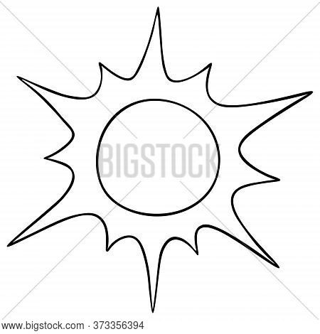 The Sun. Vector Illustration. Outline On An Isolated White Background. Heavenly Luminary. Doodle Sty