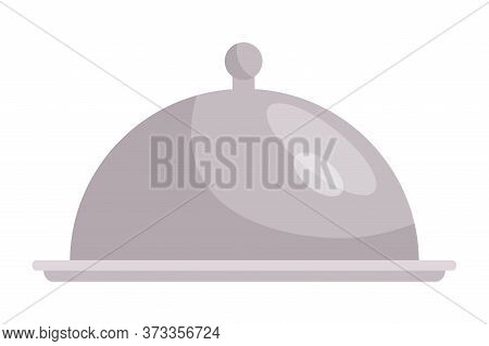 Cartoon Silver Metal Waiter Tray Under Lid Isolated On White. Plate With Cover For Hot Restaurant Di