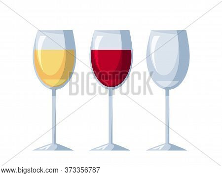 Wineglasses With White, Red Wine And Empty One Set Isolated On Light Background. Winery Degustation