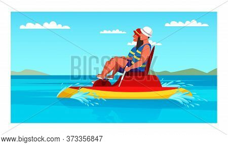 Happy Man And Woman Couple Riding Foot Pedal Boat. Cartoon Family Characters Driving Pedal-operated