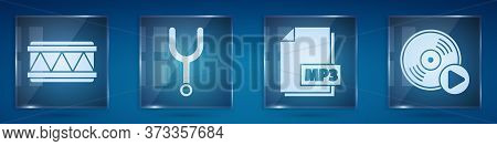 Set Drum, Musical Tuning Fork, Mp3 File Document And Vinyl Disk. Square Glass Panels. Vector