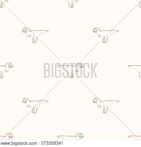 Seamless Background Simple Carnotaurus Dinosaur With Foot Print Gender Neutral Baby Pattern. Simple