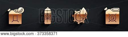 Set Bio Fuel Canister, Canister For Motor Machine Oil, Oil Industrial Factory Building And Canister