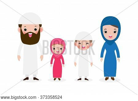 Set Of Happy Muslim Family In National Dress, Arab Muslim Parents With Children, Mother, Father, Son