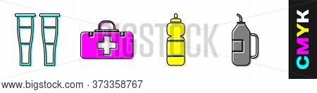 Set Crutch Or Crutches, First Aid Kit, Fitness Shaker And Fitness Shaker Icon. Vector