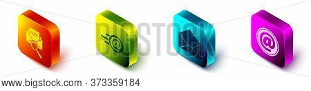 Set Isometric Envelope With Magnifying Glass, Mail And E-mail, Envelope And Mail And E-mail Icon. Ve