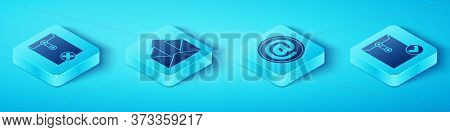 Set Isometric Delete Envelope, Outgoing Mail, Envelope And Check Mark And Mail And E-mail Icon. Vect