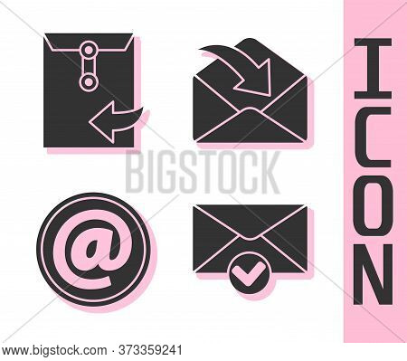 Set Envelope And Check Mark, Envelope, Mail And E-mail And Envelope Icon. Vector