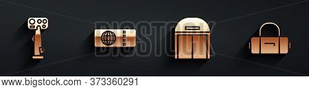 Set Aircraft Steering Helm, Airline Ticket, Aircraft Hangar And Suitcase Icon With Long Shadow. Vect