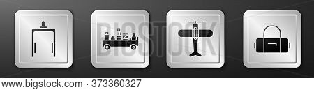 Set Metal Detector In Airport, Airport Luggage Towing Truck, Plane And Suitcase Icon. Silver Square