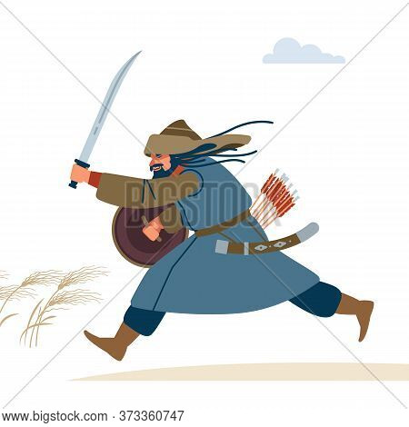 Central Asian Warrior. Medieval Battle Illustration. Historical Illustration. Isolated Vector Flat I