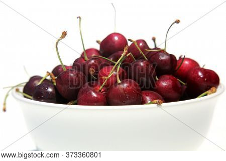 Cherries. Cherries in a White Ceramic Bowl. Isolated on white. Room for text.