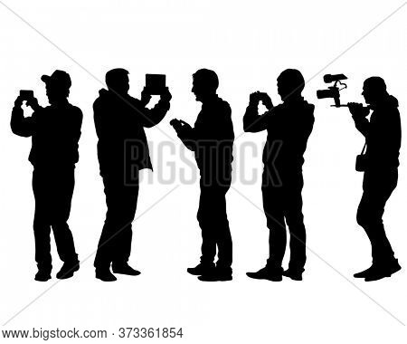 Man filming a television report on a camcorder. Isolated silhouettes on a white background