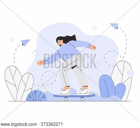 Girl Skateboarder Rides A Skateboard. Vector Illustration In A Flat, Modern Style.