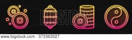 Set Line Chinese Yuan Currency, Chinese Yuan Currency, Chinese Paper Lantern And Yin Yang. Glowing N