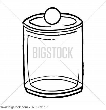 Cotton Pad Jar Vector Illustration, Cotton Pads Holder Swab Jar, Makeup Organizer. Linear Icon
