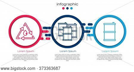 Set Line Oil Drop With Recycle, Barrel Oil And Barrel Oil. Business Infographic Template. Vector
