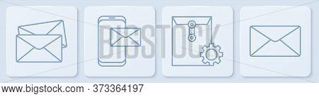 Set Line Envelope, Envelope Setting, Mobile And Envelope And Envelope. White Square Button. Vector