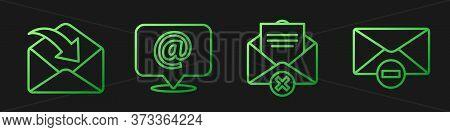 Set Line Delete Envelope, Envelope, Mail And E-mail On Speech Bubble And Delete Envelope. Gradient C