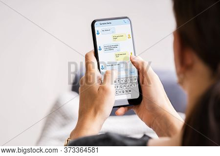 Girl Hand Texting Sms On Cell Phone