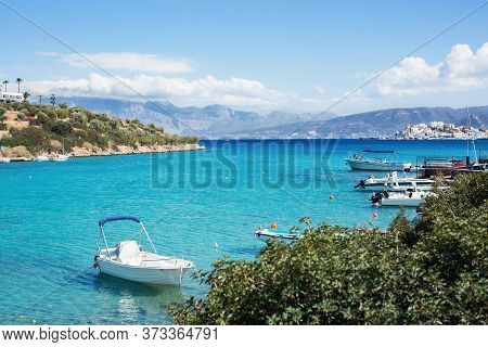 Boats And Yachts Moored In A Bay With Azure Clear Water. Sea Voyage.