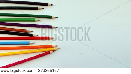Colored Pencils On White Background. Lots Of Different Colored Pencils. Colored Pencil. Pencils Shar
