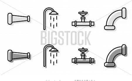 Set Line Industry Pipe And Valve, Industry Metallic Pipe, Shower And Industry Metallic Pipe Icon. Ve