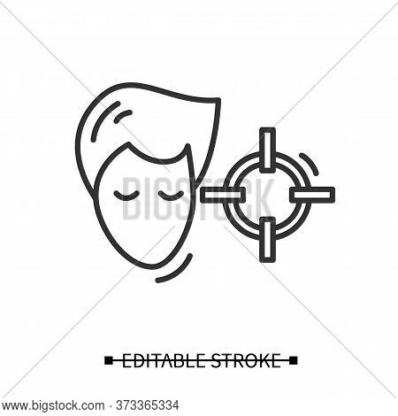 Attention Concentration Icon. Person Head With Target Linear Pictogram. Concept Of Concentration Exe
