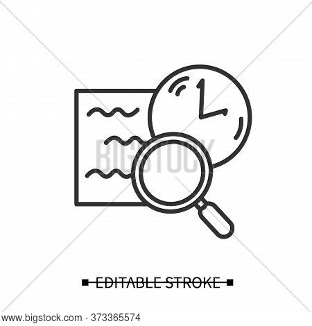 Comprehension Icon. Slow Reading With Magnifier And Clock Linear Pictogram. Concept Of Attention Tra