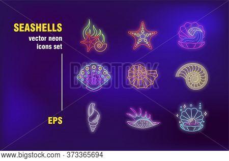 Seashells Neon Signs Set. Shellfish, Cockleshell, Starfish, Pearl, Ocean Life. Night Bright Advertis
