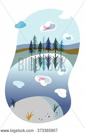 Lake Shore, Spruce Forest Natural Landscape. Evergreen Fir Trees. Coniferous Wood. Travelling And Ac