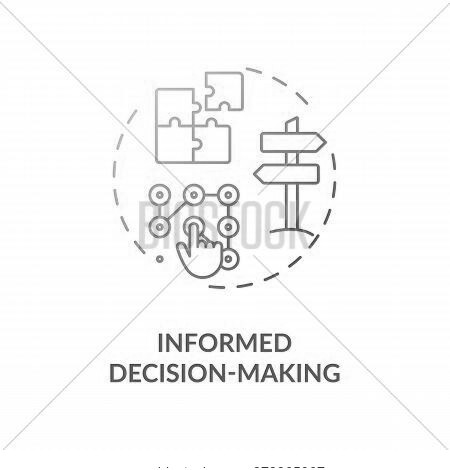 Informed Decision Making Blue Gradient Concept Icon. Plan Strategy For Opportunity. Problem Solution