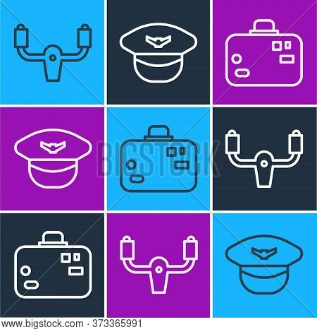 Set Line Aircraft Steering Helm, Suitcase And Pilot Hat Icon. Vector