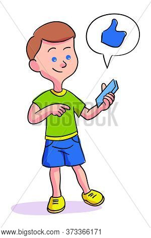 Little Boy Pointing On Mobile Phone. Child Addicted To Smartphone Standing Isolated On White. Thumbs
