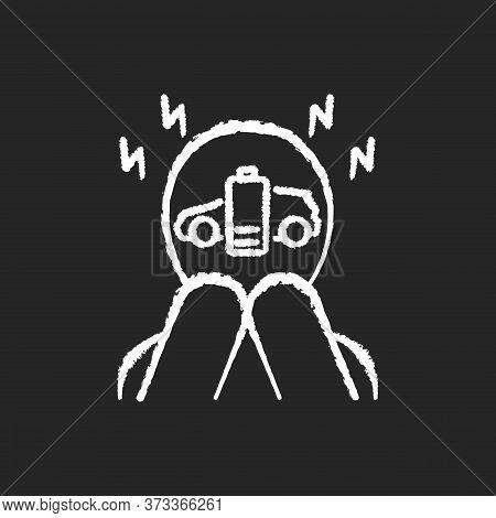 Range Anxiety Chalk White Icon On Black Background. Electric Vehicle Owner Stress, Psychological Pro