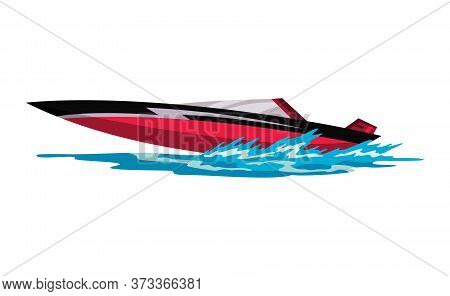 Speed Motorboat. Sea Or River Vehicle. Sport Nautical Summer Transportation. Motorized Water Vessel