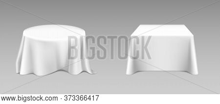 White Tablecloth On Square And Round Tables. Vector Realistic Mockup Of Empty Dining Desk With Blank