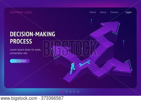 Decision Making Process Banner. Concept Of Choose Right Way In Business, Job Or Life. Vector Landing