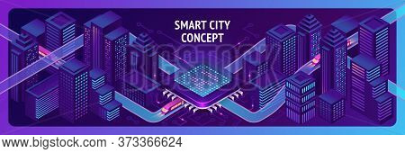 Smart City Isometric Banner, Ai Trains Driving Through Hub With Microcircuit Elements, Neon Glowing