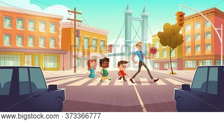 Kids Crossing City Crossroad With Traffic Lights And Teacher Holding Signal. Children Group Boys And