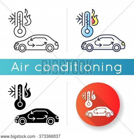 Car Air Conditioning Icon. Linear Black And Rgb Color Styles. Vehicle Interior Ventilation, Transpor