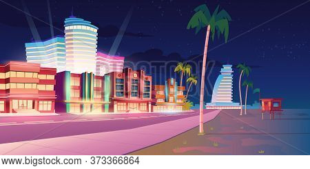 Street In Miami With Hotels, Sand Beach And Palm Trees At Night. Vector Cartoon Tropical Landscape W