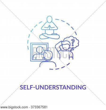 Self Understanding Blue Gradient Concept Icon. Comprehend Inner Knowledge. Psychological Health. Men