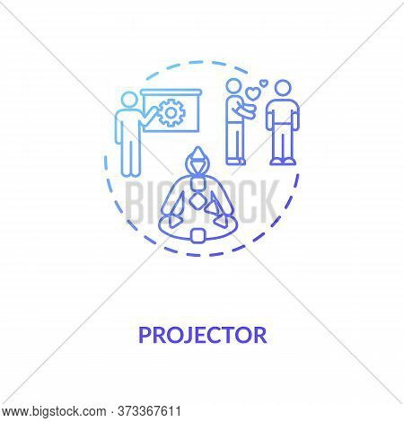 Projector Blue Gradient Concept Icon. Focus On Relationship. Body Graph For Self Understanding. Huma