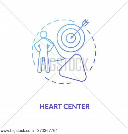 Heart Center Blue Gradient Concept Icon. Personal Will. Ego And Motivation. Chakra In Body System. H