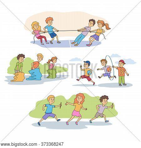 Sport Games For Children Characters Scenes Set. Sportive Competition In Kindergarten Cartoon. Rope P